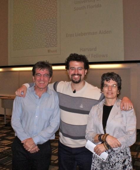 Erez Lieberman Aiden, Center, with Univ. of S. Fl. Math professors Milé Krajčevski (left) and Nataša Jonoska
