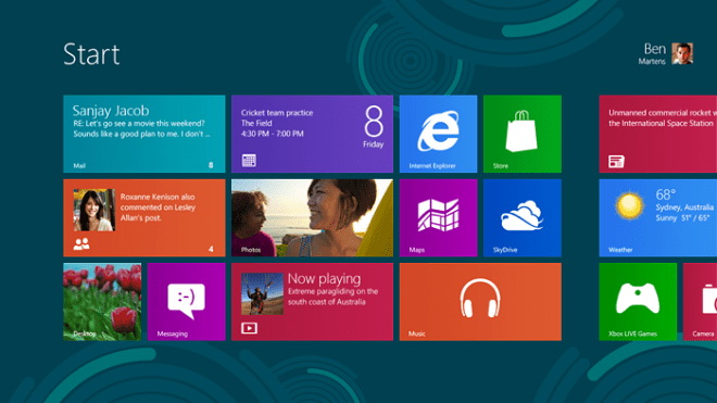 Windows 8 Metro User Interface  Image: Microsoft