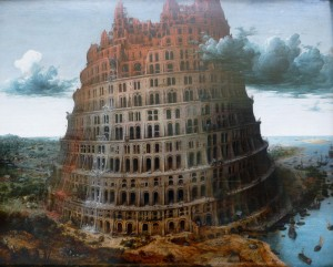 The real-time-translating Babel Fish from Douglas Adams' Hitchhikers' Guide to the Galaxy was named for the Tower of Babel, a biblical structure fractured by linguistic confusion.