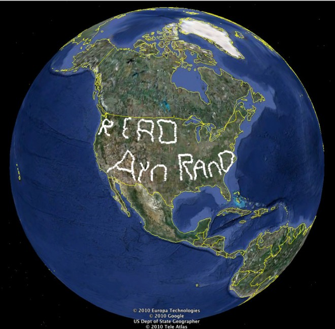 """Image of earth with """"Read Ayn Rand"""" on North America"""