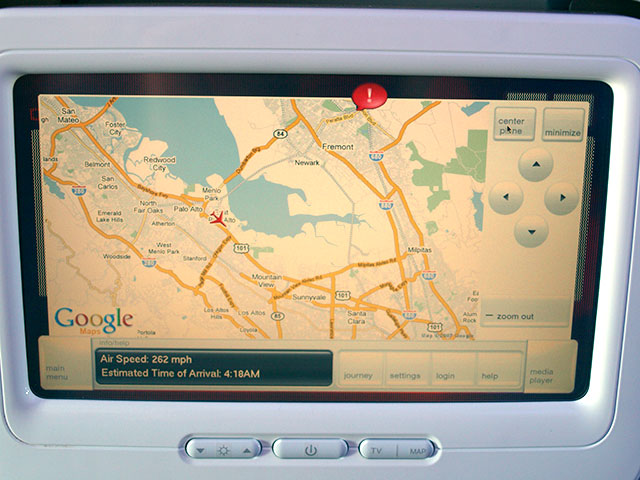 Google Maps on Virgin America seatback