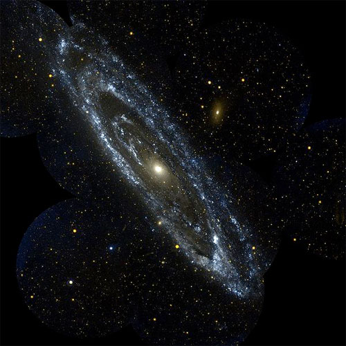 Ultraviolet image of the Andromeda Galaxy. Wired caption: Photo: Edwin Hubble's 1920s observations of Andromeda (whose ultraviolet spectrum is rendered here) expanded our notions of the size and nature of a universe that is itself expanding. Galaxy Evolution Explorer image courtesy NASA.
