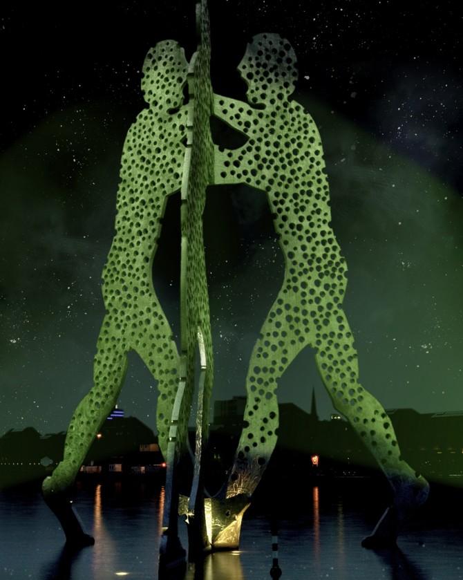 Green Molecule Man by Jonathan Borofsky