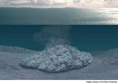 An artist's rendition of a turbidity current: a dilute mixture of water and sediment moving across the seafloor.