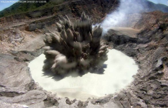 The opening salvo of the eruption at Poas in Costa Rica, captured on the crater webcam. Image: OVSICORI webcam capture.