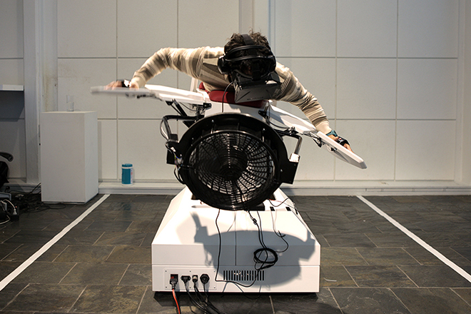 Birdly is a full-body flight simulator integrating the Oculus Rift.
