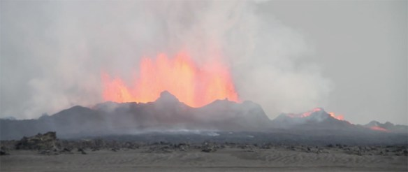 Lava fountaining in the second fissures in the Holuhraun lava field, Iceland, seen on September 4, 2014. Photo by Image from  Jonni Productions video.