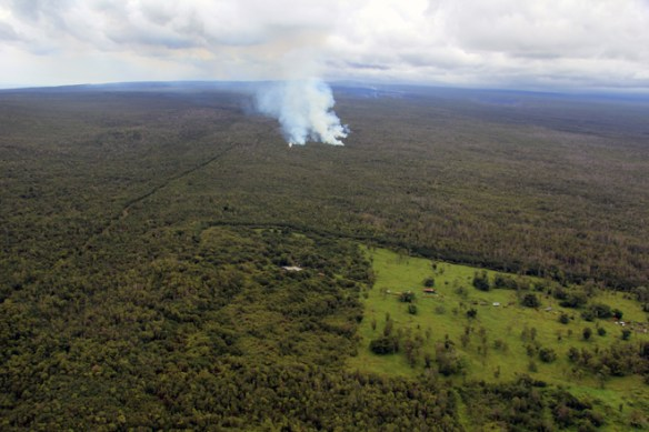 Lava flows approaching KKK Homesteads on Kilauea's slopes, seen on September 3, 2014. Photo by Hawaii Volcano Observatory / USGS.
