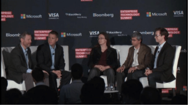 The author (center) speaking at the Enterprise Tech Summit.