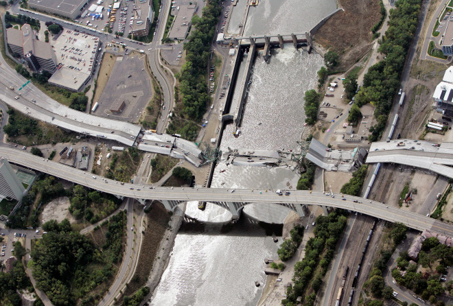 An aerial view of the Interstate 35W bridge that collapsed over the Mississippi River in Minneapolis, Aug. 3, 2007.