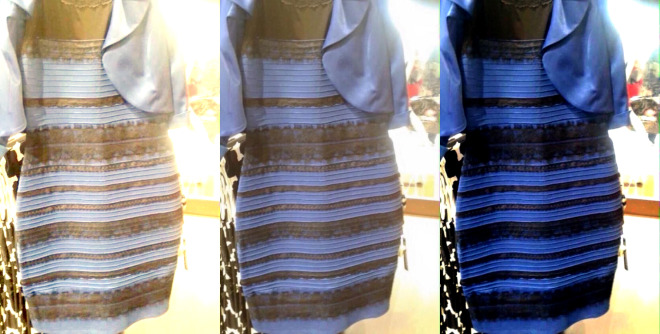 The original image is in the middle. At left, white-balanced as if the dress is white-gold. At right, white-balanced to blue-black.