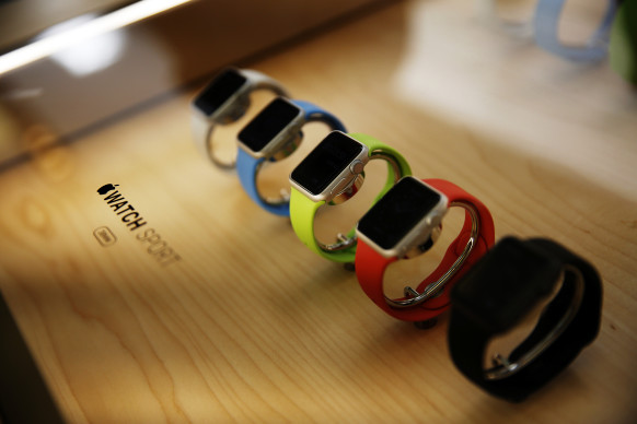 A display case containing the Apple Watch Sport at the company's flagship store in San Francisco, on June 17, 2015.