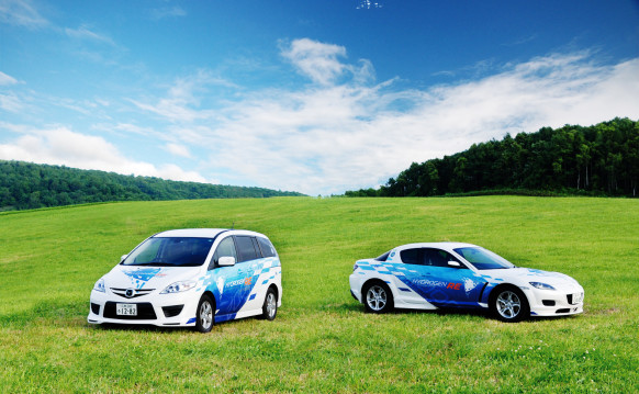 Past Mazda concepts, like the Premacy (left) and RX-8, have used hydrogen-powered rotaries.