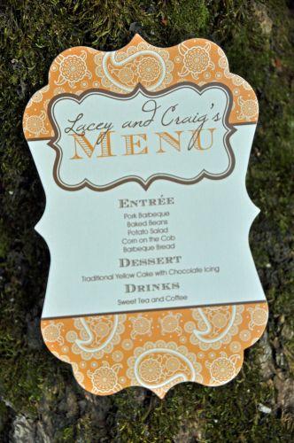 Meagan Die Cut Menu Cards  Wiregrass Weddings