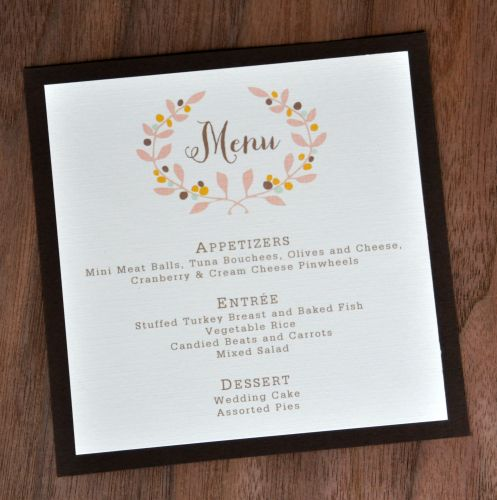 Square Mounted Menu Cards  Wiregrass Weddings