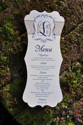 Kristin Die Cut Menu Cards  Wiregrass Weddings