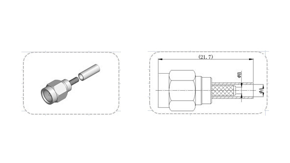 Male Plug SMA Straight Crimp RF Coaxial Connector For