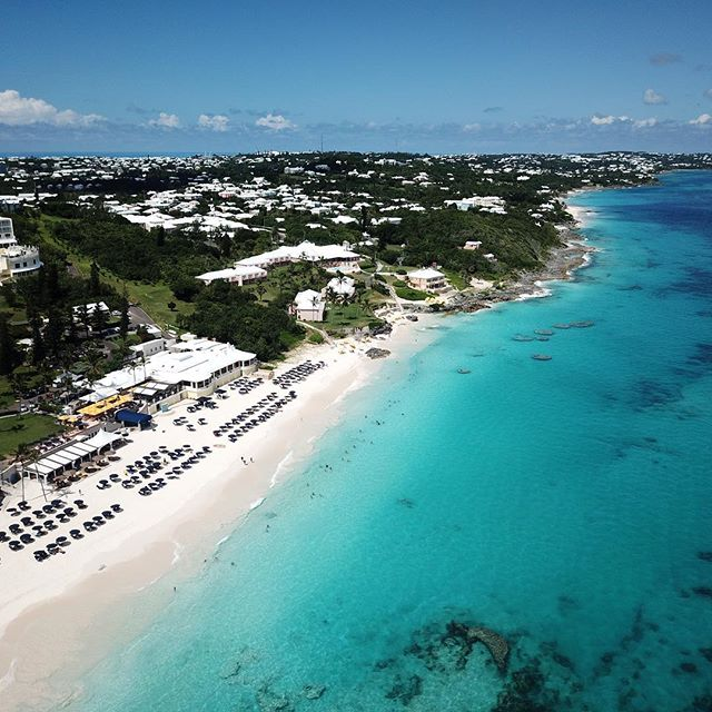 The gorgeous Elbow Beach Hotel and Resort on a stunning August afternoon with @djiglobal