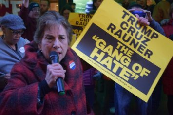 Jan Schakowsky at the March 11 protest