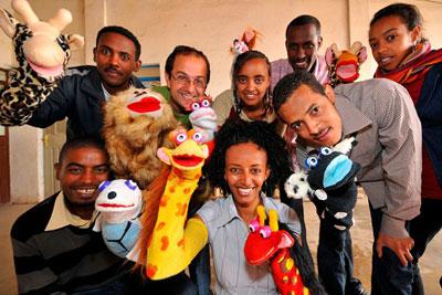 Trabajadores del estudio etíope Whizkids.