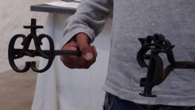 Hierro de la Compañía Negrera con el que se marcaba a los esclavos (usualmente en el pecho). Foto: Jorge Porras.