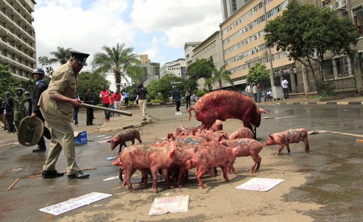"""Occupy parlament"" en Nairobi, la capital de Kenia."