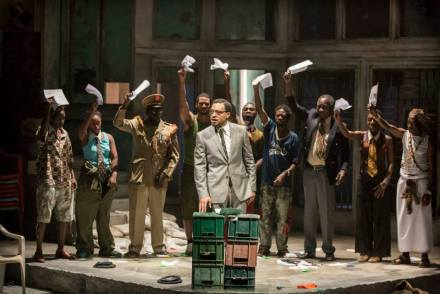A Season in the Congo – Centre Chiwetel Ejiofor as Patrice Lumumba with the full Company. Photo by Johan Persson.