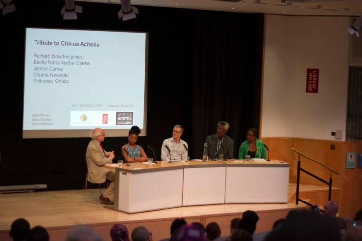 Panel Tribute to Chinua Achebe: James Currey, Chibundu Onuzo, Richard Dowden, Chuma Nwokolo y Becky Nana