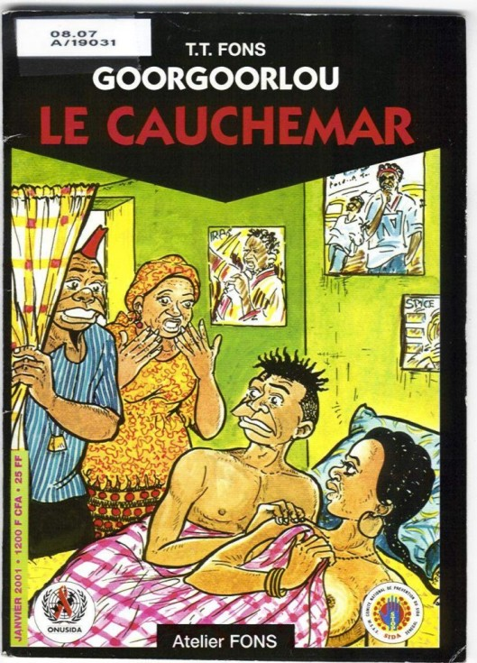 Portada del cómic senegalés de Goorgoorlu en relación con el VIH