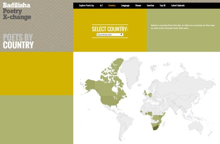Distribución mundial de las poesías albergadas en el archivo sonoro literario.