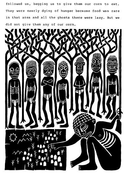 Una de las páginas de Wild Hunter in the Bush of Ghosts, de Amos Tutola