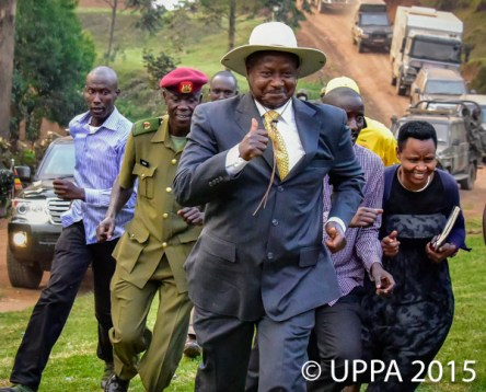 The President of the Republic of Uganda Yoweri Kaguta Museveni runs ahead of his team to address a rally in Kabaale district in South Western Uganda. Some people have accused the President for being too old and not being able to lead the country anymore.