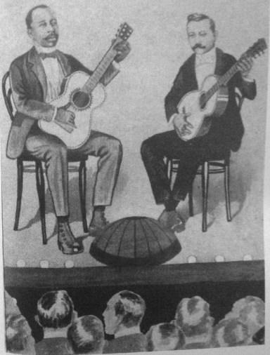 Una representación del duelo entre Gabino Ezeiza y Pablo Vázquez.
