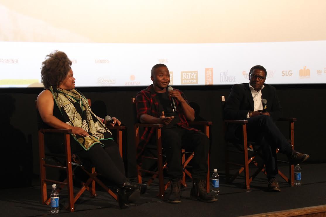 Audrey Brown, Thabo Rametsi y Mandla Dube en el coloquio tras la proyección de Kalushi / Foto: Estrella Sendra