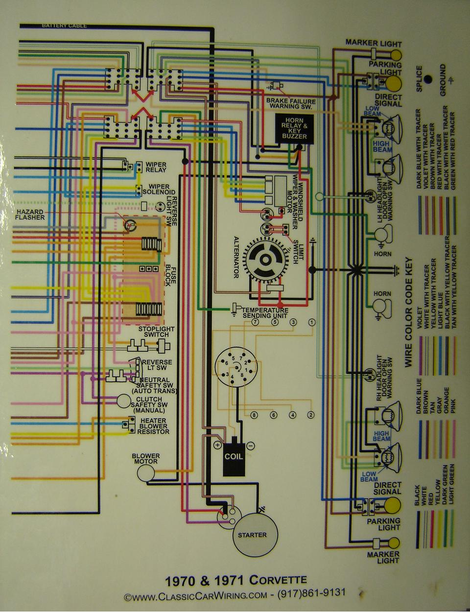 hight resolution of 1970 71 corvette color wiring diagram 2 drawing b