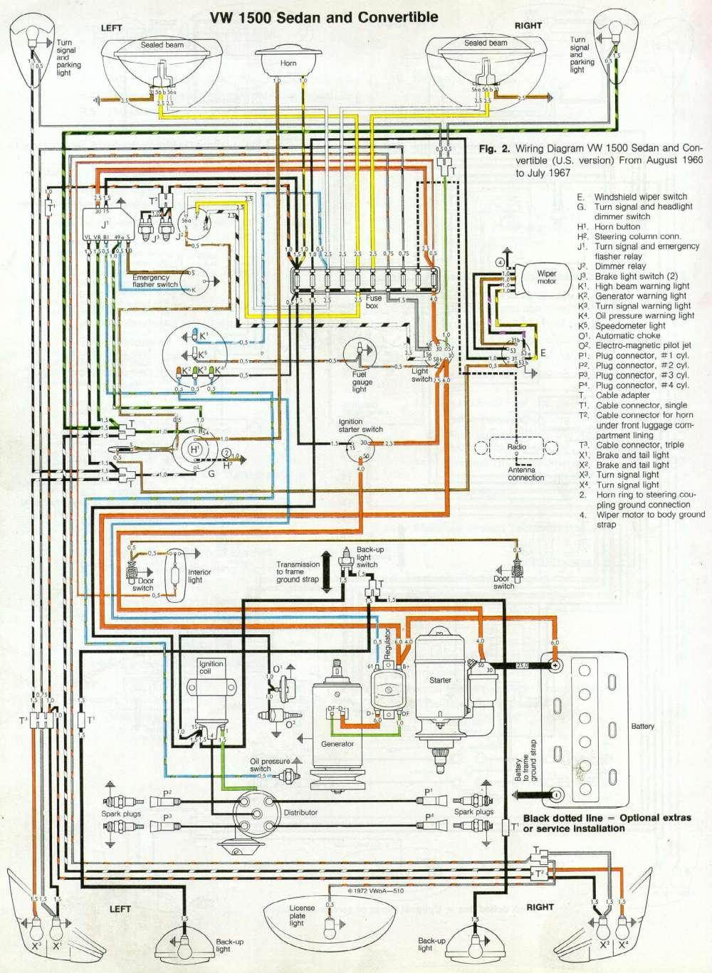 medium resolution of 1967 vw 1500 sedan convertible wiring diagram drawing a