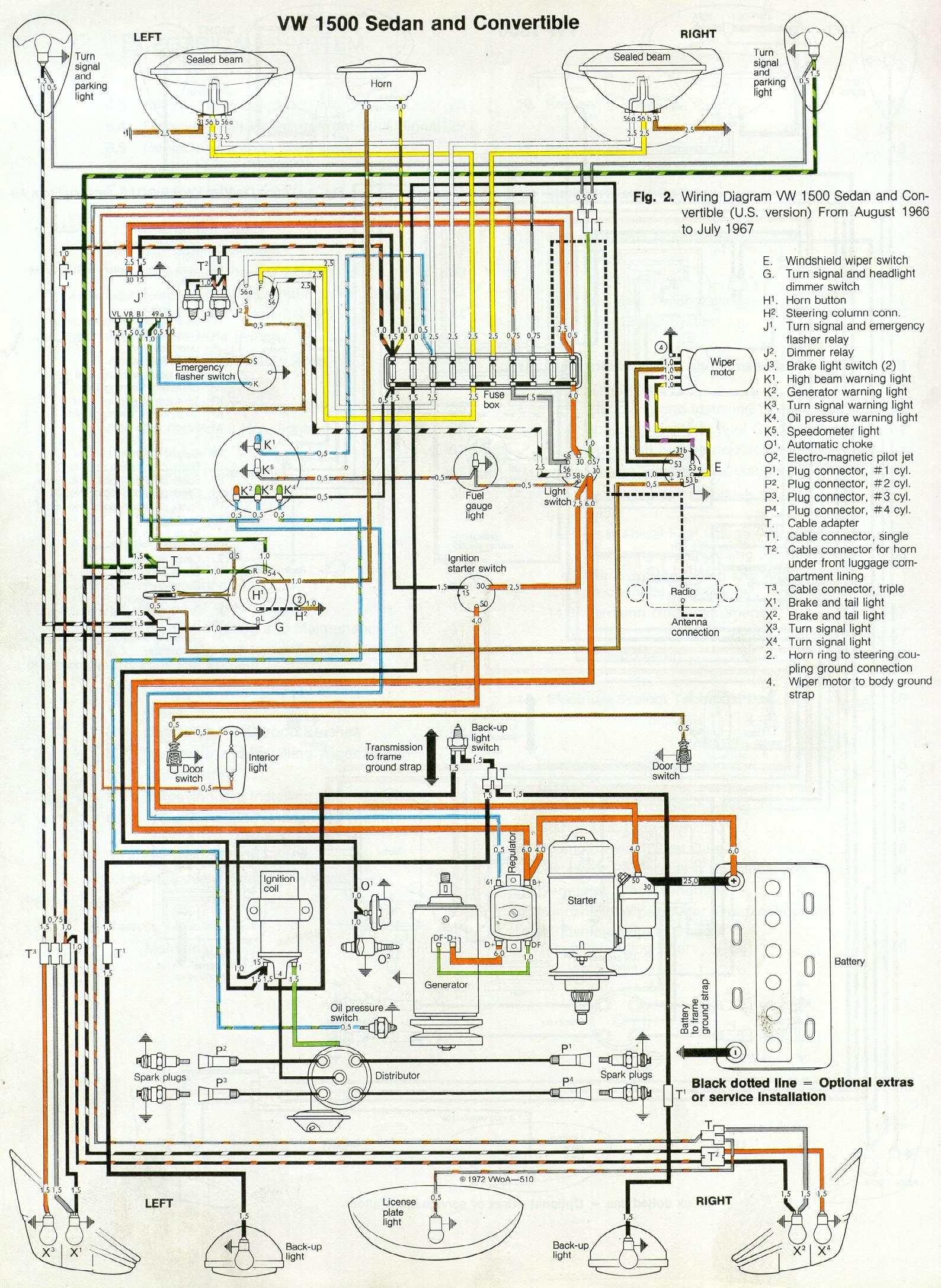 hight resolution of 1967 vw 1500 sedan convertible wiring diagram drawing a