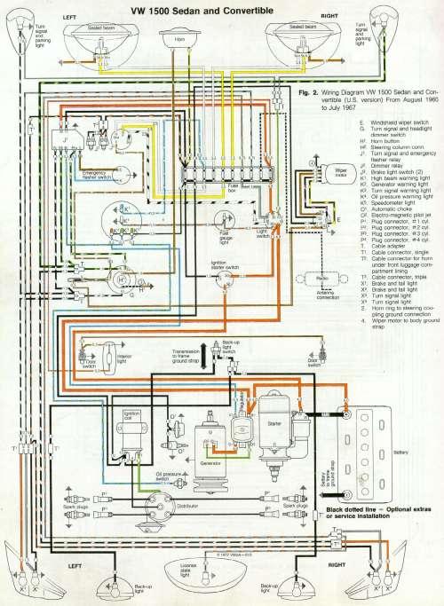 small resolution of 1967 vw 1500 sedan convertible wiring diagram drawing a