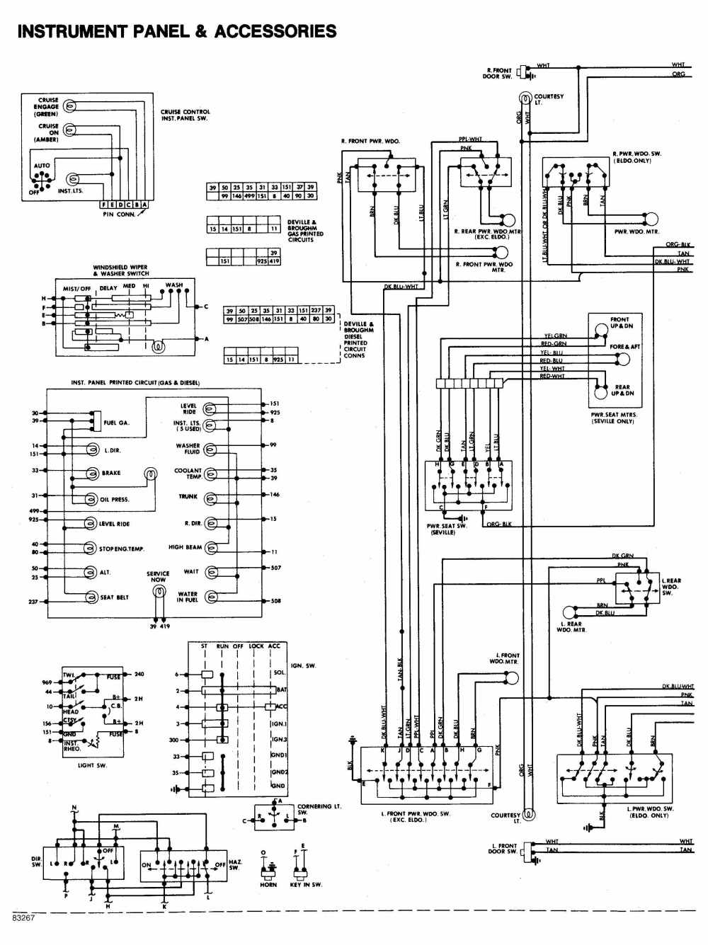 medium resolution of 1984 cadillac deville instrument panel and accessories wiring diagram drawing a