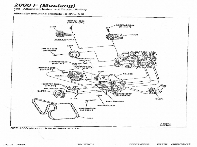 1999 Ford Mustang Serpentine Belt Diagram