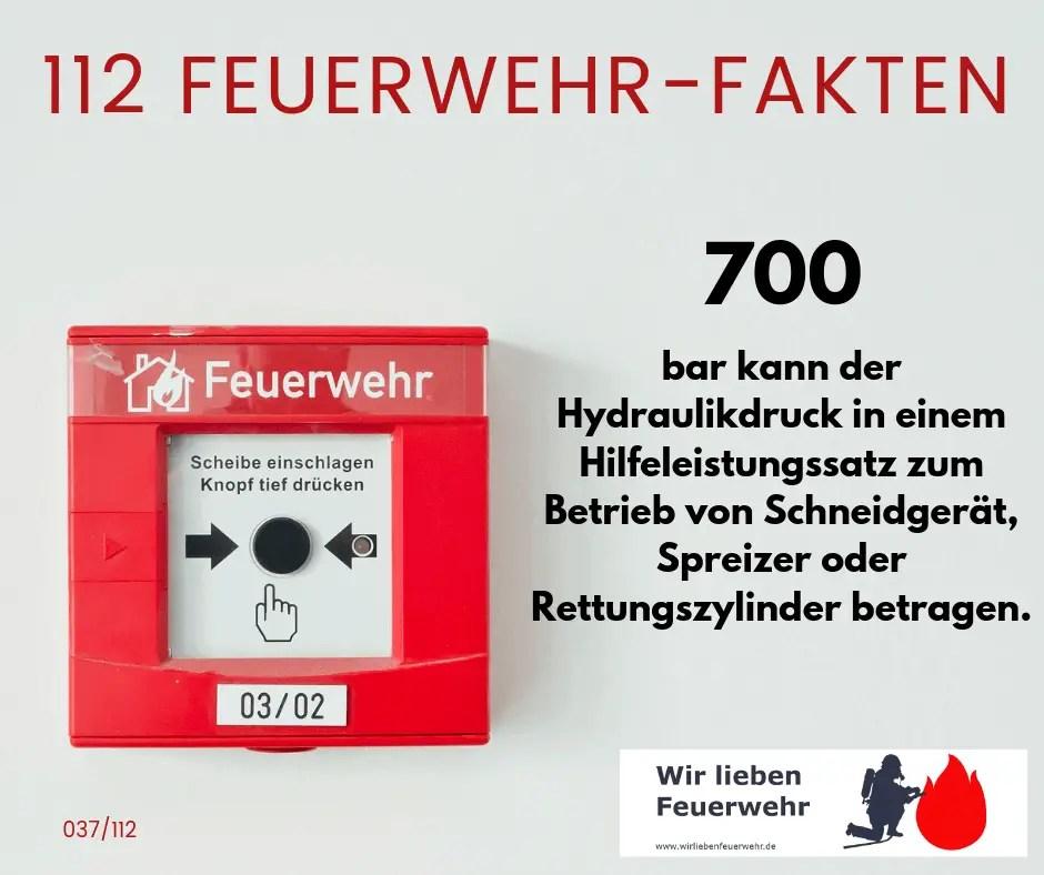 700 bar kann der Hydraulikdruck in einem Hilfeleistungssatz zum Betrieb von Schneidgerät, Spreizer oder Rettungszylinder betragen.