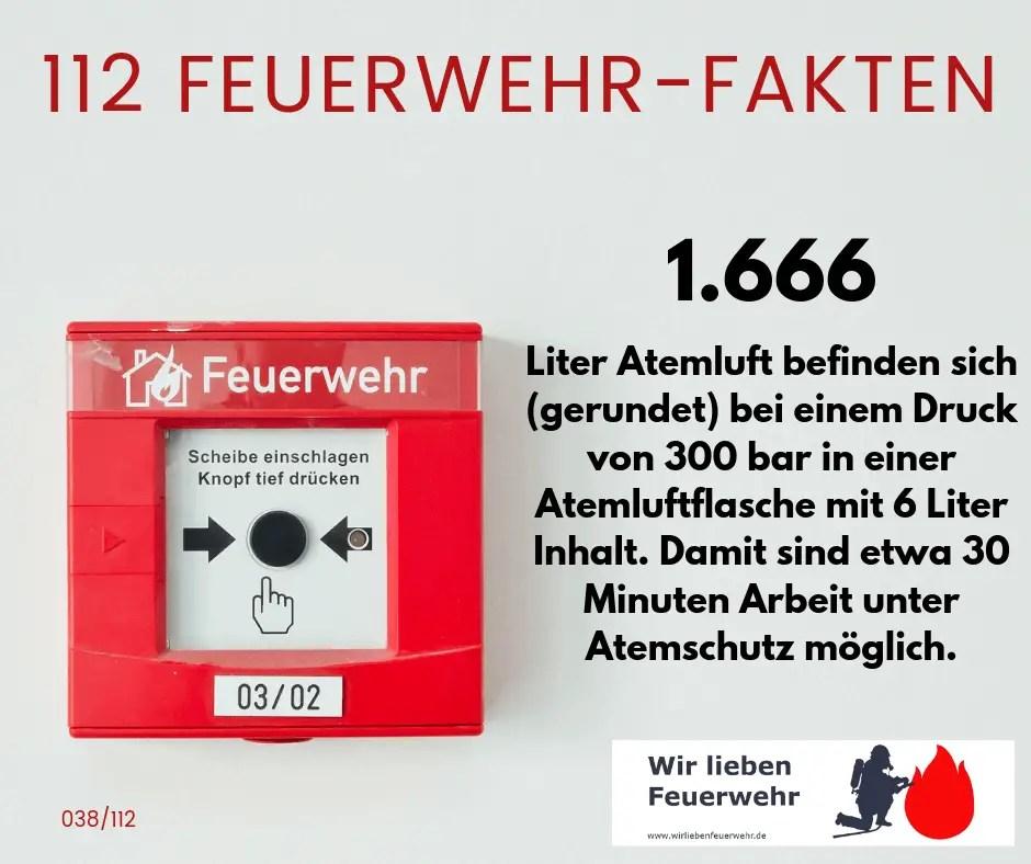 1.666 Liter Atemluft befinden sich (gerundet) bei einem Druck von 300 bar in einer Atemluftflasche mit 6 Liter Inhalt. Damit sind etwa 30 Minuten Arbeit unter Atemschutz möglich.