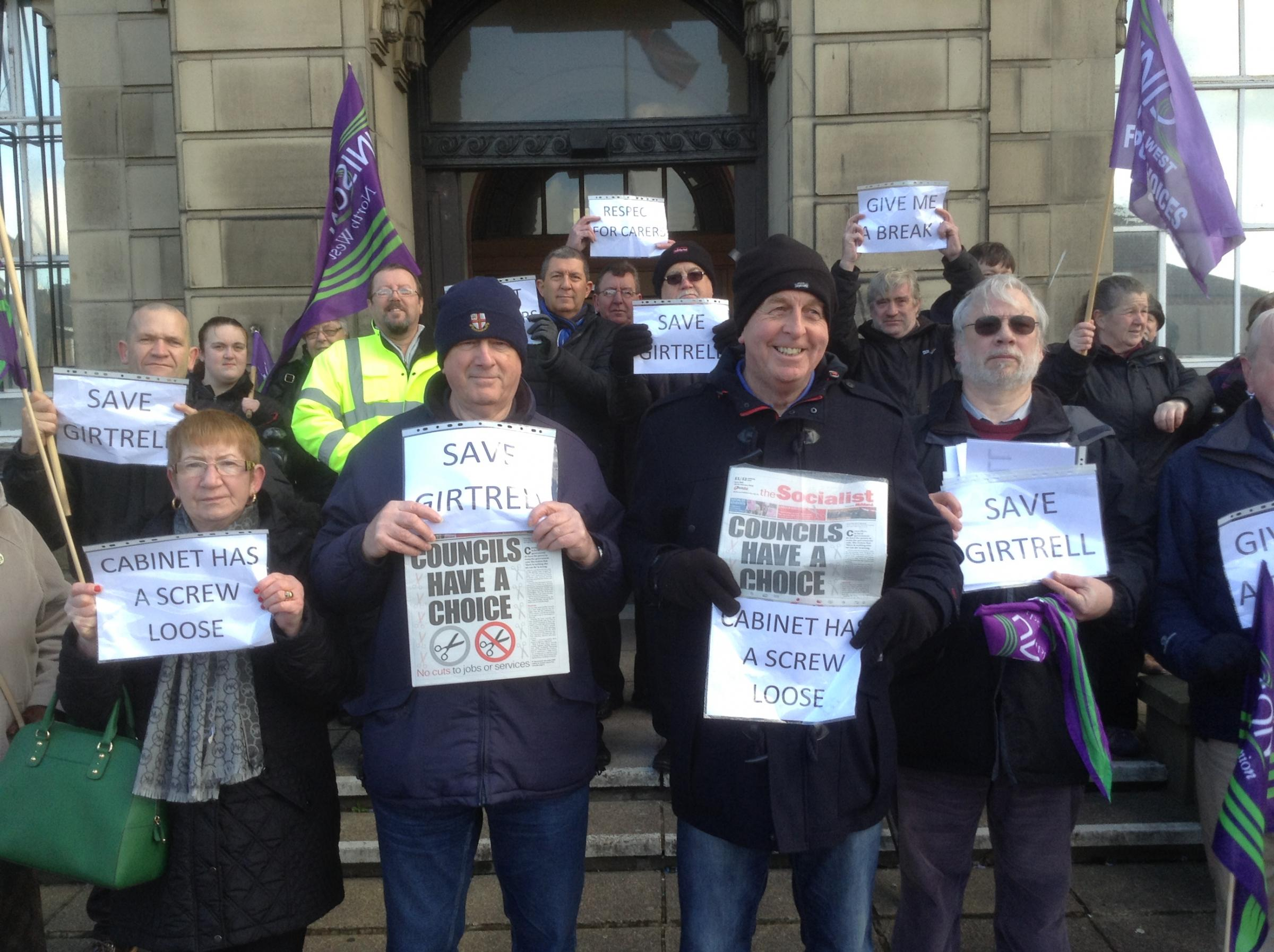 Respite centre protest outside Wallasey town hall earlier today