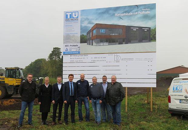 Startschuss für den neuen Standorte der Technischen Überwachung TÜ Ems-Vechte GmbH an der Ulanenstraße 14