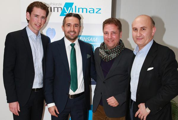 v.l.n.r.: Sebastian Kurz, Kazim Yilmaz, Atil Kutoglu, Ali Rahimi