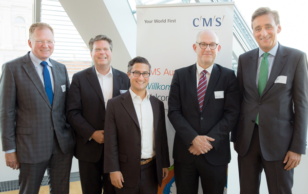 Michael Wurzinger (UBM Realitätenentwicklung AG), Ralf Zeitlberger (Erste Group Bank AG), Heimo Rollett (immobranche.at), Peter Huber (CMS) und Andreas Ridder (CBRE)