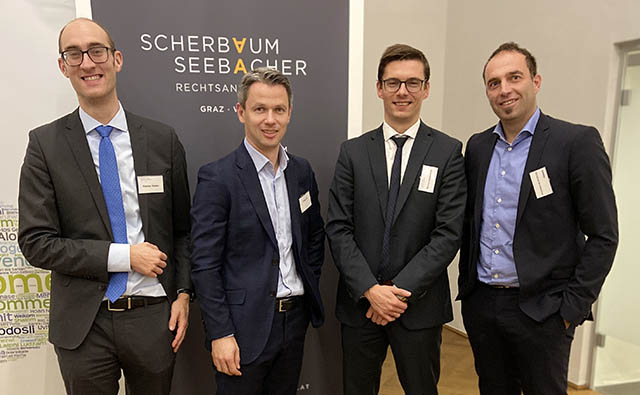 Mag. Florian Thelen (RA bei ScherbaumSeebacher), Mag. Wolfgang Auf, Dr. Mario Leistentritt (RA bei ScherbaumSeebacher), Christian Buchsteiner (Deloitte)