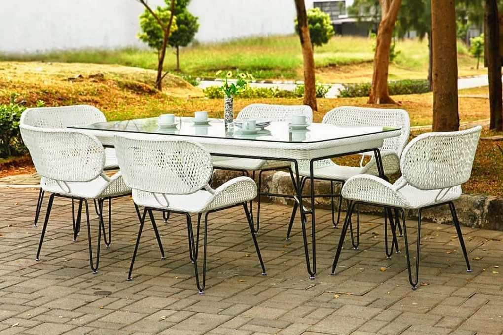 White Rattan outdoor dining set. . material : synthetic rattan & metal • •      ...