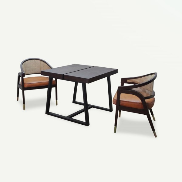 Ganis Dining Set Material Teak Wood Rattan Brass Leather Cushion Rustic Color 2