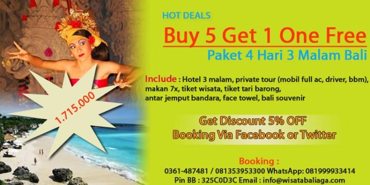 Hot Deal Paket Wisata 4 Hari 3 Malam Bali Beli 5 Orang Gratis 1 Orang